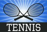 Tennis Crossed Rackets Blue Sports Poster Print Masterprint
