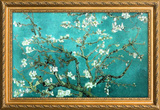 Van Gogh Almond Branches Poster with Gilded Faux Frame Border Masterprint