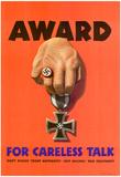 Award for Careless Talk Anti-Nazi WWII War Propaganda Art Print Poster Posters