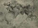 Leonardo da Vinci (Dragon Fight) Art Poster Print Masterprint