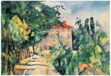 Paul Cezanne (House with red roof) Art Poster Print Prints
