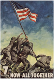 7th War Loan Bonds Iwo Jima Soldiers with Flag WWII War Propaganda Art Print Poster Photo