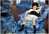 Mary Cassatt Small Girl in the Blue Armchair Art Print Poster Posters
