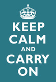 Keep Calm and Carry On Peacock Art Print Poster Masterprint