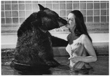 Bear Kissing Woman Archival Photo Poster Posters