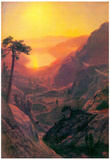 Albert Bierstadt Donner Lake Sunset Art Print Poster Posters