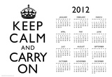 Keep Calm and Carry On White 2012 Calendar Poster Posters