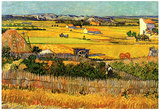 Vincent Van Gogh Harvest at La Crau with Montmajour in the Background Art Print Poster Posters