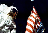 Moon Landing Astronaut with Flag Archival Photo Poster Print Masterprint