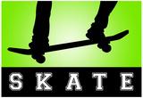 Skateboarding Green Sports Poster Print Plakater