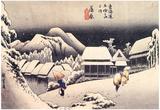 Utagawa Hiroshige Kanbara Evening Snow Prints