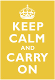 Keep Calm and Carry On Mustard Art Print Poster Obrazy