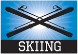 Skiing Blue Sports Poster Print Print