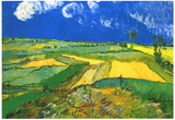 Vincent Van Gogh Wheat Fields at Auvers Under Clouded Sky Art Print Poster Poster