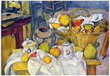 Paul Cezanne Still Life with Fruit Basket Art Print Poster Poster