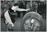 Woman Rolling Barrell 1952 Archival Photo Poster Print Posters
