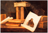 Sebastian Stoskopff Still Life with Books and a Rembrandt Etching Art Print Poster Prints