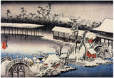 Utagawa Hiroshige Snow at the Field of Kameido Tenman Shrine Art Print Poster Prints