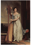 Thomas Sully (Portrait of Eliza Ridgely (The lady with the harp)) Art Poster Print Prints