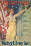 Americans All Victory Liberty Loan WWI War Propaganda Art Print Poster Posters