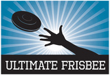 Ultimate Frisbee Blue Sports Poster Print Photo