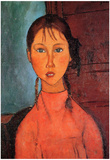 Amadeo Modigliani Girl with Plaits Art Print Poster Posters
