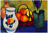 August Macke White Jug with Flowers and Fruits Art Print Poster Photo