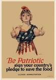 Be Patriotic Sign Your Country's Pledge to Save the Food WWI War Propaganda Art Print Poster Masterprint