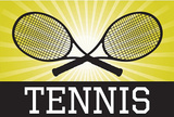 Tennis Crossed Rackets Yellow Sports Poster Print Masterprint