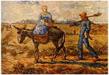 Vincent Van Gogh Morning Peasant Couple Going to Work Art Print Poster Posters