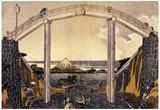 Katsushika Hokusai View of Mount Fuji Under a Bridge Art Poster Print Print