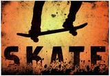 Skateboarding Orange Sports Poster Print Posters
