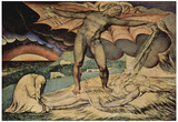 William Blake (Satan pours on the plagues of Job) Art Poster Print Prints