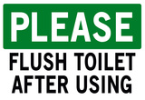 Please Flush Toilet Sign Print Poster Prints