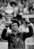 Arthur Ashe Defeats Jimmy Connors Tennis Trophy Archival Photo Sports Poster Masterprint