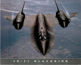 SR-71 Blackbird (In Air) Art Poster Print Posters
