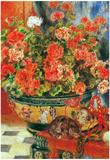 Pierre Auguste Renoir Geraniums and Cats Art Print Poster Prints