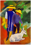 August Macke Children with Goat Art Print Poster Posters