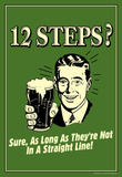 12 Steps Not In A Straight Line Beer Drinking Funny Retro Poster Masterprint