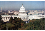 The Capitol Building (Washington Monument in Background) Art Poster Print Prints