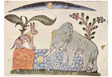 Syrian painter of 1354 (Kalila and Dimma of Bidpai, Scene: The hare and the elephant king in front Prints
