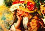 Pierre-Auguste Renoir (Two girls reading in a garden) Art Poster Print Masterprint