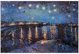 Vincent Van Gogh Starry Night Over the Rhone Starlight Art Poster Print Posters