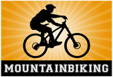 Mountain Biking Orange Sports Poster Print Poster