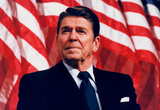 President Ronald Reagan (American Flag) Photo Poster Print Masterprint