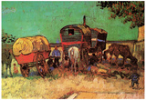 Vincent Van Gogh Encampment of Gypsies with Caravans Art Print Poster Posters