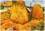 Vincent Van Gogh Haystacks in Provence Art Print Poster Print