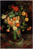 Vincent Van Gogh Vase with Zinnias and Geraniums Art Print Poster Prints
