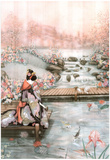 Asian Lady The Fish Pond 1 Art Print POSTER quality Poster
