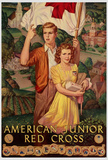 American Junior Red Cross WWII War Propaganda Art Print Poster Masterprint